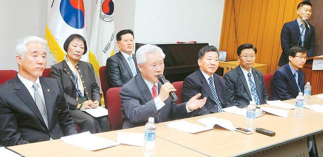 ▲ 권영신 국민회관기념재단이사장(발언자)이 3.1절 행사를 설명하고 있다.