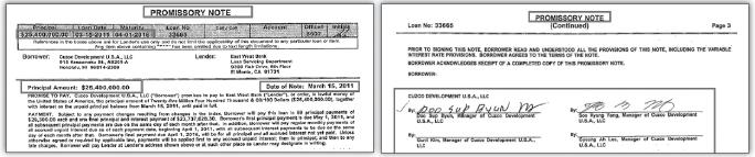 ▲(왼쪽) 변두섭-양수경등 모기지 노트 ▲(오른쪽) 변두섭-양수경 모기지관련 노트 서명
