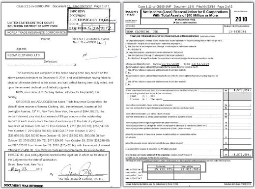 ▲(왼쪽) 한국무역보험공사, 니마클로딩상대 2012년 승소판결문 ▲(오른쪽) 니마클로징 2010년 세금보고서, 적자가 458만달러, 부채가 자산보다 5백만달러이상 많다고 신고