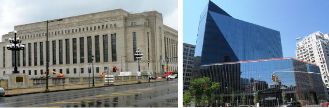 ▲(왼쪽) 한국투자신탁운용이 매입한 필라델피아 시라스퀘어 ▲ 교직원공제회가 지분 49%를 인수한 뉴욕 맨해튼 아스토르51