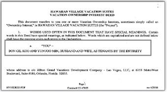 ▲ 구본길-민연주부부, 하와이콘도매입계약서