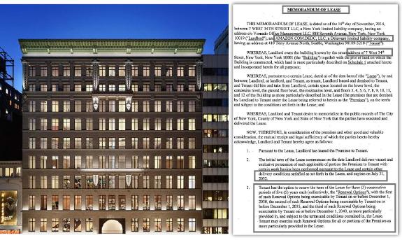 ▲(왼쪽) 우정사업본부가 49% 지분을 매입한 뉴욕 맨해튼 아마존센터빌딩 ▲ 아마존닷컴 빌딩리스계약서