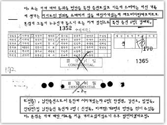 ▲ 1979년 4월 28일 접촉에서 북한은 북한으로 인도뒤 비인도적 결과를 초래하지 않을 사람 8명을 명단을 적어줬으며 이중에 신영복, 이재학이 남한출신 독신자로 규정, 강력히 인도를 요청했다.