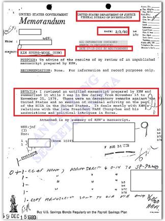 ▲ FBI가 극비작성한 김형욱회고록 영문요약본 관련 전문-  1980년 3월 3일 작성된 이 문서는 2013년 7월 15일 비밀해제됐다고 명시돼 있다.