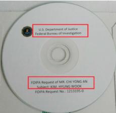 ▲ FBI가 보내온 김형욱 관련 파일이 수록된 CD [2015년 9월 14일자]