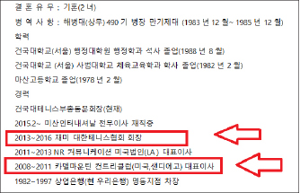 ▲ 곽용운이 테니스협회에 제출한 공식이력서