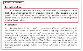 ▲ 유엔직원윤리규정 [2002년 11월 버전] 이해상충금지조항