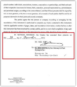▲홍라희여사, 하와이별장 495만달러 매도계약서[권리증서], 홍여사의 위임을 받은 임경수변호사가 홍여사를 대리해 매도인란에 서명했다.