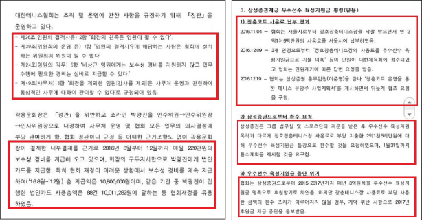 ▲ 2017년 2월 11일 대한테니스협회 대의원총회 감사보고내역