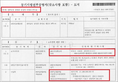 ▲ 김승진 한국과수원 가압류결정 -등기부등본