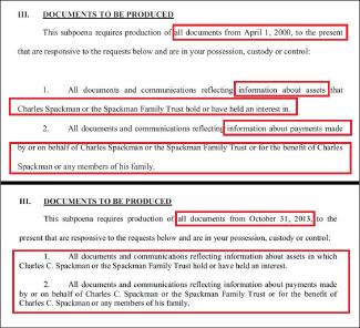 ▲상단은 디스커버리관련 하버드대 서류제출명령서 [2000년 4월 1일부터 현재까지], 하단은 디스커버리관련 클레어스펙만 서류제출명령서 [2013년10월31일부터 현재까지]
