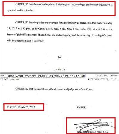 뉴욕카운티법원은-지난달-20일,-마당쇠가-신청한-새-테넌트-리스계약의-효력정지-가처분-요청을-승인했다.