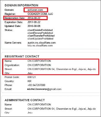▲ 액티브온닷컴 도메인등록내역 - 무보사기주범인 제주도소재 온코프가 2014년 8월 22일 이 도메인을 등록했다.