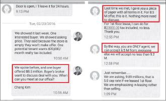 ▲ 김창현씨가 CEO건물주인 미셀 왕과 주고 받은 전화문자메시지, 미셀 왕은 2016년 2월 23일 당신이 유일한 에이전트이며, 850만달러라면 수용하겠다는 문자를 보낸 것으로 드러났다.