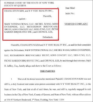 ▲ 뉴욕베스트부동산과 김창현씨가 뉴욕주 퀸즈지방법원에 제출한 CEO건물주와 이청강씨, 피크닉가든바베큐부페 상대 손해배상소송장