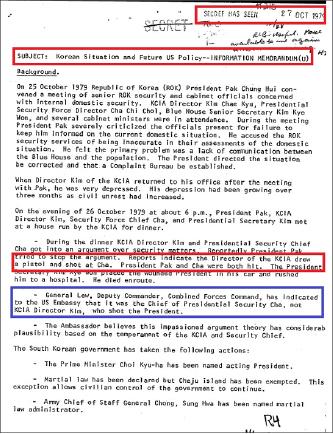 ▲ 주한미군 고위장성 피크니 장군은 해롤드 브라운 국방장관에게 보고한 1979년 10월 28일자 전문에서, 류병헌 한미연합사 부사령관은 김재규가 아니라 차지철이 박대통령을 사살했다고 말한 것으로 적고 있다.