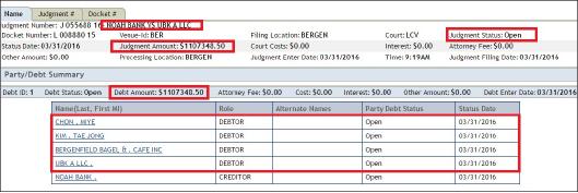 ▲ 뱅크아시아나 횡령범 전미예일가를 상대로 한 노아뱅크의 110만달러 승소판결 등록내역