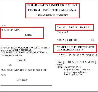 ▲ 바른테크놀로지가 지난달 13일 캘리포니아중부연방파산법원에 제출한 김수연파산관련 이의제기 신청서