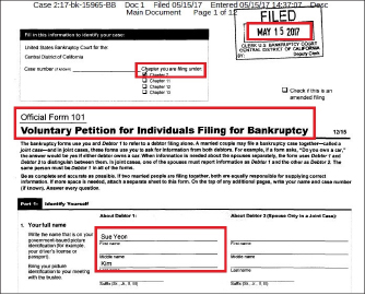 ▲ 김수연은 바론테크놀로지가 지난 1월 19일 로스앤젤레스카운티지방법원에 소송을 제기하고 4월 25일 소송장을 송달받자 20일만에 챕터7, 파산신청을 했다.