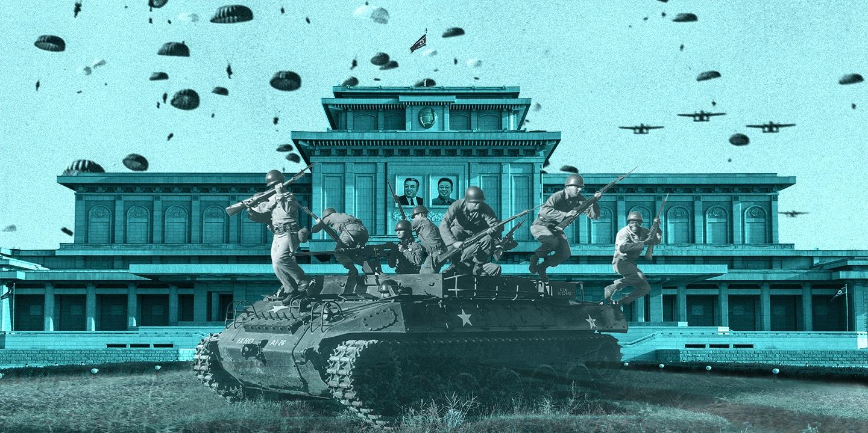 ▲ 미국, 한국의 합동 특수부대가 평양을 점령한다는 가상 작전모습(Intercept 에서)