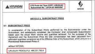 ▲ 현대건설은 2012년 10월 18일 우루과이 복합화력발전소 공사를 수주한뒤 2013년 12월 5일 포스코 해외자회사인 산토스CMI에 4억8천만 우루과이페소에 발전소 관리동공사를 맡겼다. 공사금액에 대해 포스코는 240억여원을 매출로 잡은 반면, 현대건설은 2천만달러에 조금 못미치는 212억원에 대한 배상을 요청했다.