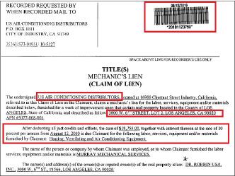 ▲ 닥터로빈은 로스앤젤레스매장 에어컨공사비중 일부를 지급하지 않아 2010년 8월 에어컨공사업자가 근저당을 설정했다.