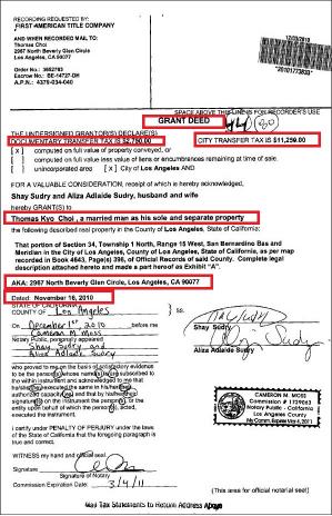 ▲ 토마스최 ABS사장은 ABS를 페르미라에 2700억원에 매각하자 마자 2010년 11월 16일 비버리힐스의 저택을 은행모기지 한푼없이 250만달러에 매입했다