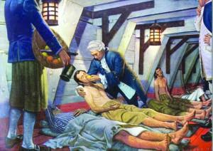 ▲ 1747년 영국 군의관 제임스 린드(James Lind)는 레몬, 오렌지, 양배추 달인물로 영국 해군의 괴혈병 사망률을 낮췄다.