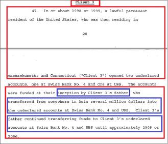 ▲ 연방검찰이 2013년 4월 16일 뉴욕남부연방법원에 제출한 에드가 팔쳐 변호사에 대한 기소장 -기소장 20페이지부터 '고객3번'의 비자금은닉을 도운 내용이 기재돼 있으며, 이 고객3번은 김형권이다. 연방검찰은 고객3번의 비자금소스가 김형권의 아버지이며, 아시아지역의 어느 지역에서 1999년부터 2006년까지 수백만달러씩을 계속 스위스계좌에 입금했다고 명시했다.