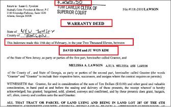 ▲김주원과 데이빗 김은 2003년 조지아주 덜루스의 주택을 이혼직전인 2011년 2월 15일자로 매도했다,