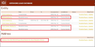 ▲ 국제탐사보도언론인협회가 공개한 파라다이스페이퍼를 검색한 결과 권혁회장과 관계된 케이만군도설립 법인내역 및 권혁회장 주소