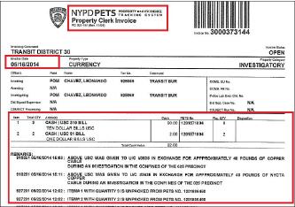 ▲ 뉴욕시가 법원에 제출한 구리케이블 매매에 따른 압수물품현황, 사복경찰은 자신이 훔친 구리케이블을 팔고 싶다며, 한인소유 공터에서 이를 매매했다며 뉴욕주법원에 증거를 제출했다.