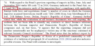 ▲  독일은 지난해 4월 3일 유엔보고를 통해 독일 수출업자가 중국 대련의 아시아 메탈러지컬을 통해 페로실리콘을 수입한 사실을 적발, 북한의 우회수출여부를 조사하고 있다고 밝혔다.
