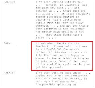▲ 반주현의 공범 앤드류 사이먼의 기소장 - 반주현은 해리스말콤에게 카타르관리에게 수수료로 1300만달러를 받는다고 설명하고 중재를 요청하라고 요구했다.