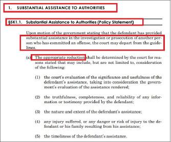 ▲ 연방양형가이드라인 5K1.1의 협조합의서 조항 - 공범의 체포에 결정적 기여를 한 피고에게 양형 기준을 적용하지 않는다, 즉 양형 하한선을 지키지 않아도 된다고 규정하고 있다.