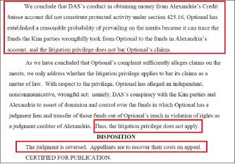 ▲ 캘리포니아주 항소법원은 2014년 1월 15일 '140억원 다스송금은 사기성 이체이며, 사기성이체는 소송특권에 해당되지 않는다'고 판결했다.