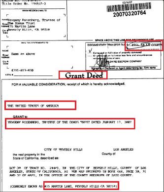 ▲ 미국정부는 475 MARTIN LN, BEVERLY HILLS 저택을 2007년 2월 14일 451만5천달러에 매도했다.