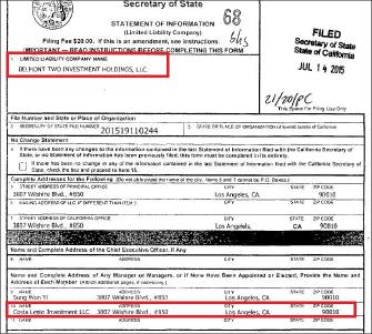 ▲ 벨몬트투투자의 2015년 7월 14일 법인서류 - 임원이 코스타 리스테 및 이성원[샘리]라고 기재돼 있다.