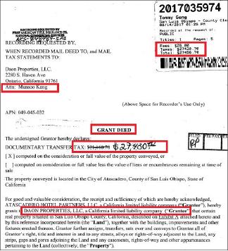 ▲ 다온프라퍼티스의 스프링힐수트호텔매입 계약서 - 2017년 8월11일 캘리포니아 와이너리 밀집지역인 파소 로블스의 이 호텔 매입계약을 체결하고 8월 14일 등기를 마쳤다. 계약서에는 양도세가 2만1160달러로 기재돼 있었으나, 이를 줄로 긋고 2만7430달러라고 수기로 기재한 것으로 확인됐다.
