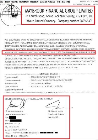 ▲ AJ에너지유한회사가 제출한 송금증거 - 하지만 금융사기업체로 널리 알려진 메이브룩사의 레터헤드에 송금메시지를 기재한 것으로 도이치뱅크의 확인서명이 있지만 진위여부가 불투명하다.
