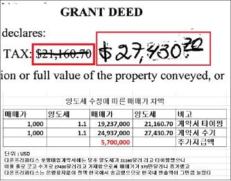 ▲ 다온프라퍼티스 매입가 570만달러 부풀리기의혹