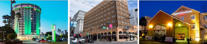 ▲ (왼쪽부터) 방용훈사장이 소유한 LA인근 롱비치의 할리데이인호텔, 샌프란시스코 픽윅호텔, 나파밸리 페어필드인 호텔