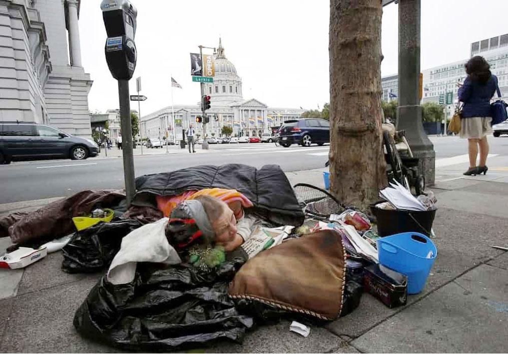 ▲ 샌프란시스코 거리에 노숙자 잠자리.