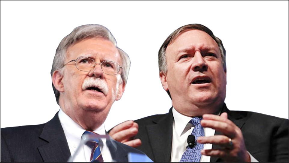 ▲트럼프의 핵심막료 폼페이오 국무장관(오른편)과 존 볼턴 안보 보좌관