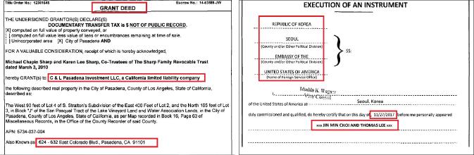 ▲ (왼쪽) 최진민 패서디나매장 매입, ▲ 최진민 패서디나매장 매도때 주한미국대사관 공증