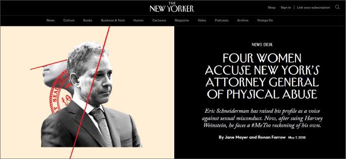 ▲ 뉴요커가 인터넷에 게재한 슈나이더맨 전 검찰총장의 스캔들기사