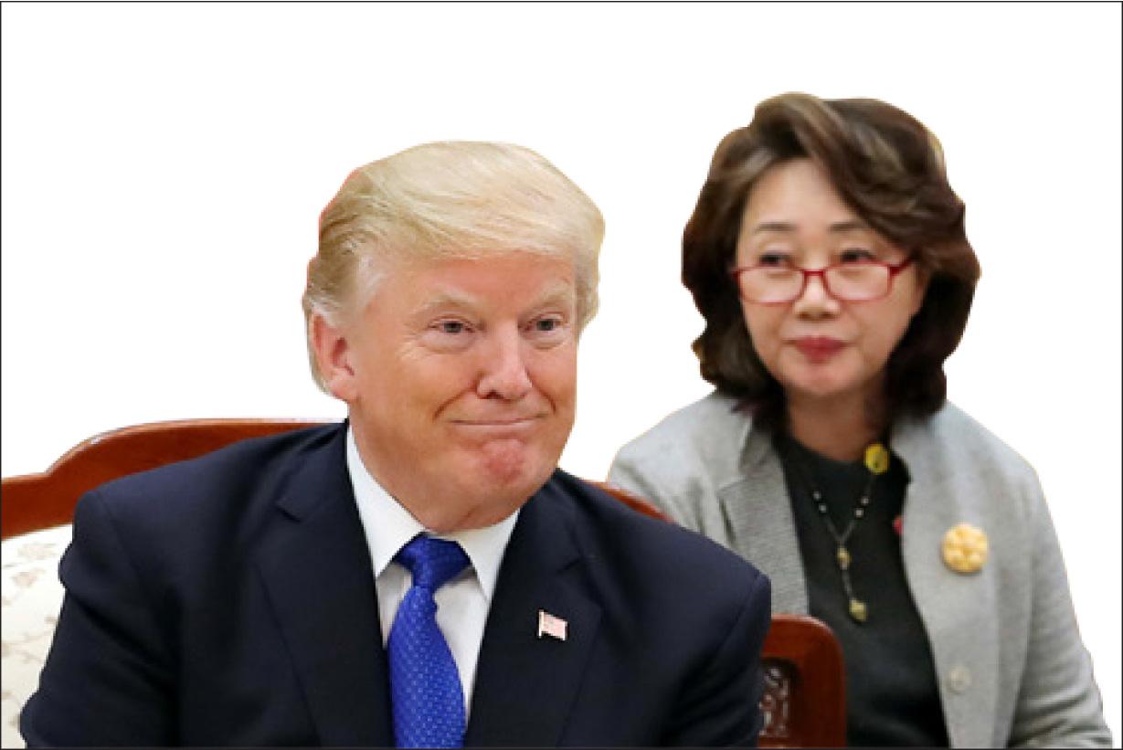 ▲ 트럼프 대통령과 통역사 이연향 박사