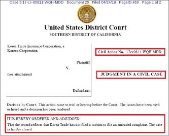 ▲ 캘리포니아남부연방법원은 2018년 4월 24일 한국무역보험공사의 소송을 기각하고 재판을 종료했다.