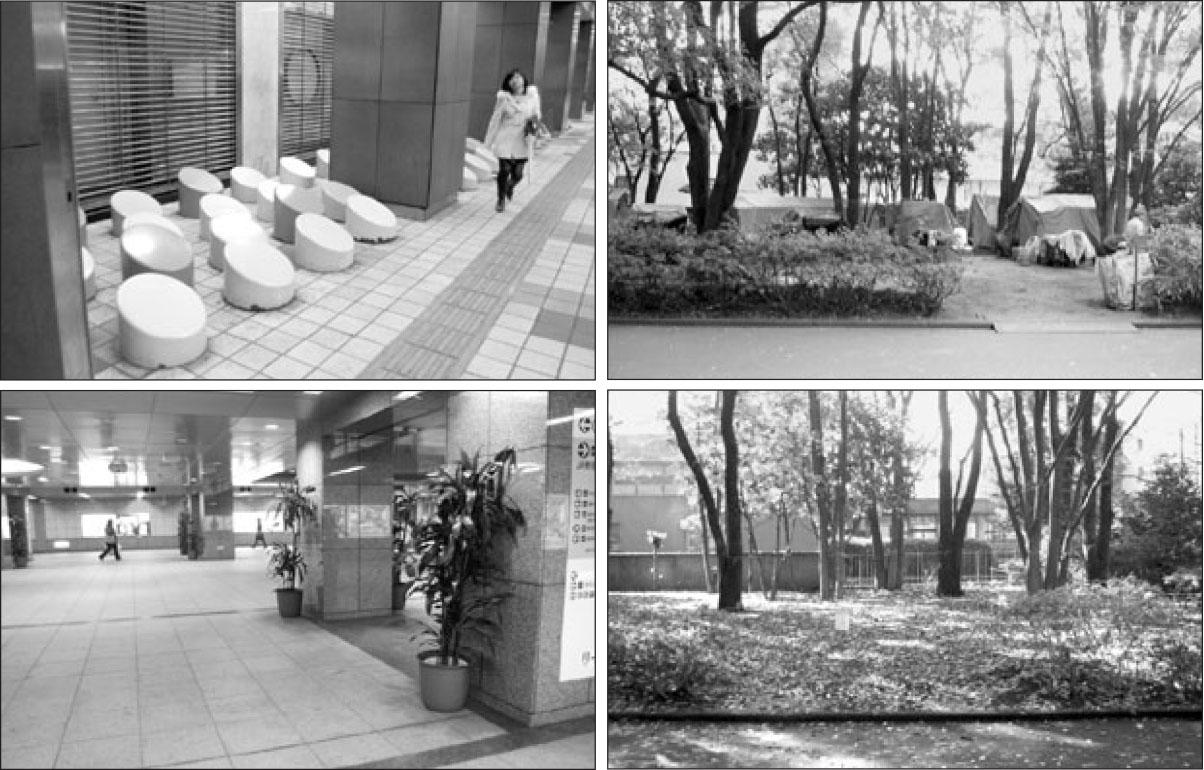 ▲ 일본의 성공적인 '노숙자 관리대책'이 세계적으로 인기를 얻고 있다. 노숙자가 있던 자리에 조형물을 설치했다.
