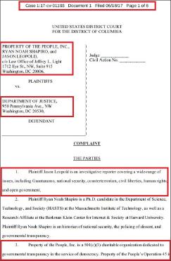▲ 비영리단체인 '프러퍼티 오브 더 피플'이 지난해 6월 연방법무부를 상대로 FBI의 트럼프비밀문서 공개소송을 제기, 승소했다.